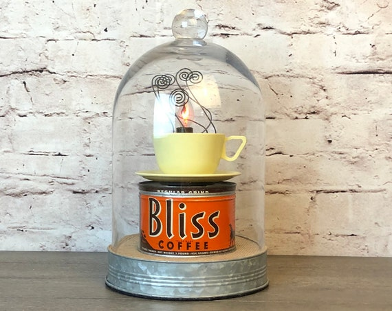 Upcycled Vintage Coffee Tin and Cup