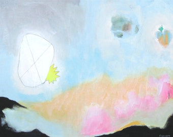 """Large Abstract Acrylic Painting on Canvas Entitled - """"Float"""""""