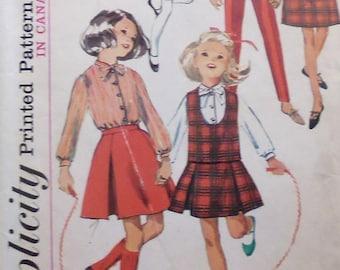 Simplicity 6111, girls separates sewing pattern, girls slacks, girls skirt, girls jumper, breast 30, pre teen pattern,  1960s pattern