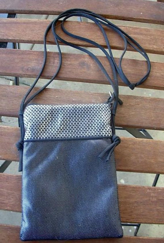 Silver metallic fabric evening purse, zippered pur
