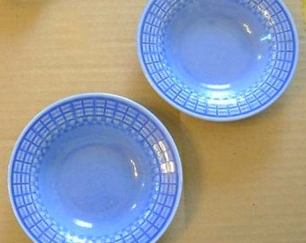 Edwin M. Knowles blue bowls 1937, 1930s pottery, Knowles china, American pottery, West Virginia, small blue bowls, Depression pottery