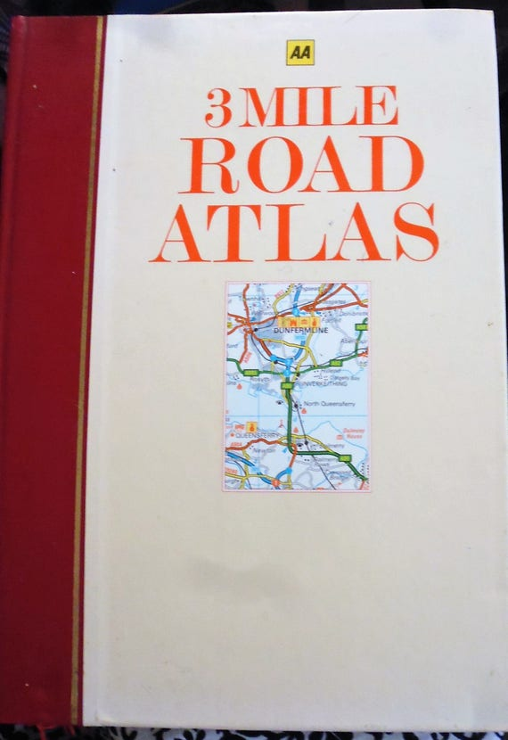 AA 3 Mile Road Atlas, Great Britain Road Atlas, England map, Great Road Atles Maps Book on