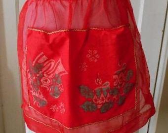Red Christmas apron, half apron, retro apron, taffeta apron, children's apron, vintage apron, saucy French maid, red apron, holiday apron