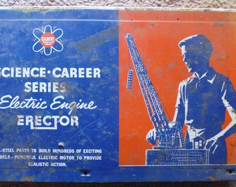 Gilbert Erector Set 10057, science career, mechanical toy, building toys, 1950s toys, science career, construction toy,  electric engine