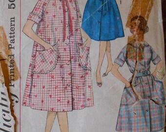 Simplicity 3712 women's robe pattern,  1960s pattern, bust 34, belted dress pattern, bathrobe pattern, duster pattern, housecoat pattern