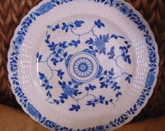 Minton Blue Delft plate, Royal Doulton, English china, 1870s plate, antique plate, blue and white china, antique china