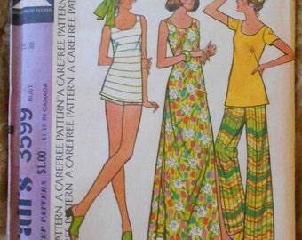McCalls 3599 summer clothes pattern, long dress, top, pants, shorts, bust 38, back zip top, 1970s pattern, beachwear pattern, hip 40