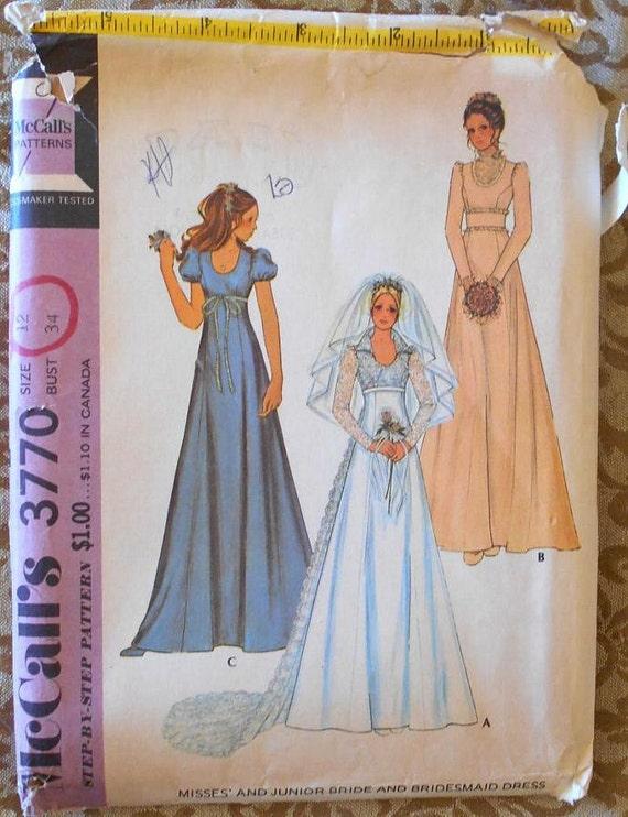 McCalls 3770 wedding dress pattern high waist dress dress | Etsy