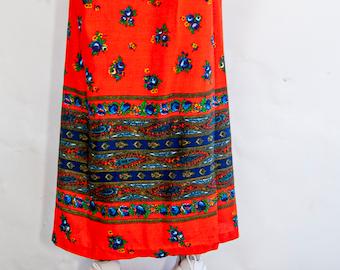 70s Deadstock Neon Orange Floral Wrap Skirt M / NOS Skirt / Brand New Skirt / Bright Orange Wrap Skirt