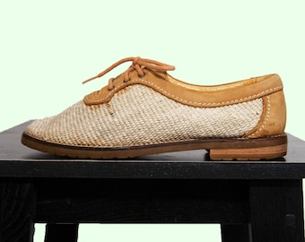 90s Woven Leather Oxfords US 9 / EU 40