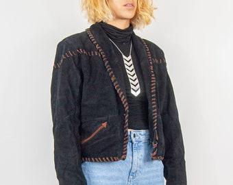 90s Cropped Leather Rope Jacket L / Western Leather Jacket / Cropped Leather Jacket / Black and Brown Jacket / Western Black Jacket