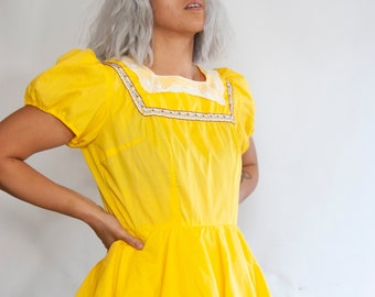 70s Yellow Lace Trim Square Dancing Dress L Large / Cottage Core Dress / Kawaii Prairie Dress / Country Girl Dress