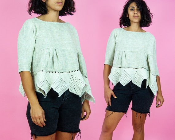 90s Cropped Swing Blouse OSFM