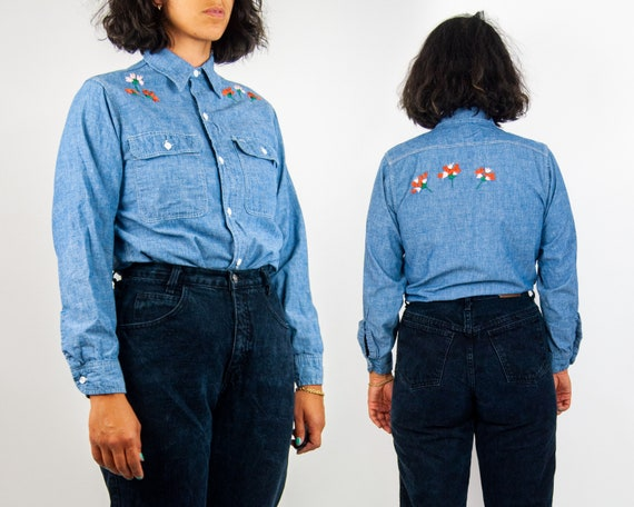 70s Embroidered Chambray Shirt M / L