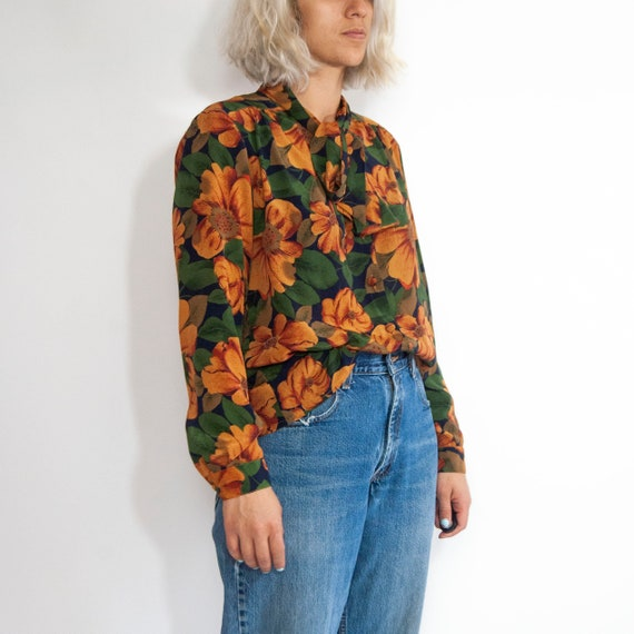 90s Floral Pussy-Bow Blouse 14 / L / Large Floral… - image 3