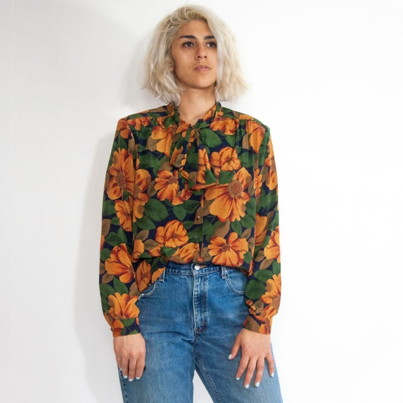 90s Floral Pussy-Bow Blouse 14 / L / Large Floral… - image 2