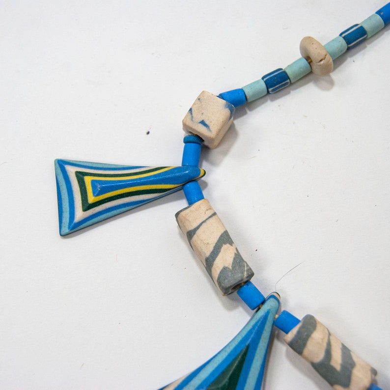 70s Blue Ceramic Statement Necklace