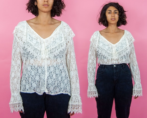 Y2K does 70s Lace Blouse OSFM