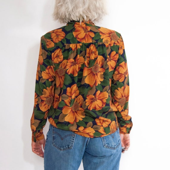 90s Floral Pussy-Bow Blouse 14 / L / Large Floral… - image 6