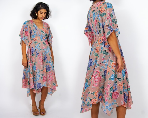 70s Flutter Sleeve Maxi Dress M - L