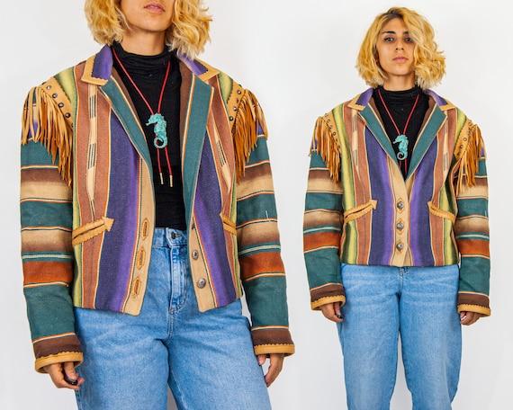 Vintage 80s Southwestern Jacket Southwest Geometric Coat Western Jacket Navajo Boxy Blanket Coat 80s Clothing 80s Southwest