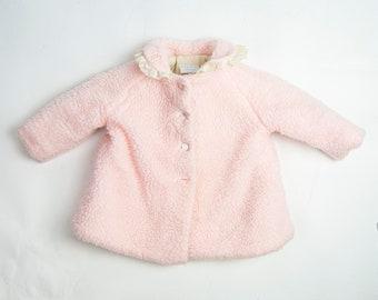 60s/70s Vintage Shearling Overcoat 12 - 18 Months / Baby Pink Coat  / Baby Winter Coat / Plush Winter Coat