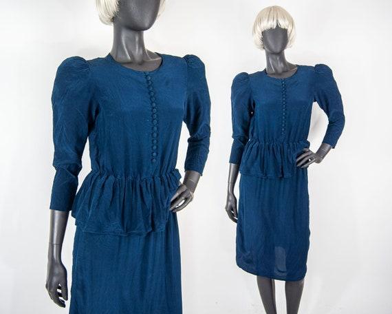 80s Silk Peplum Dress 6  / XS / S