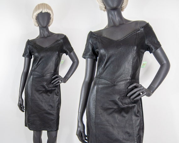 80s Off the Shoulder Leather Dress L / M