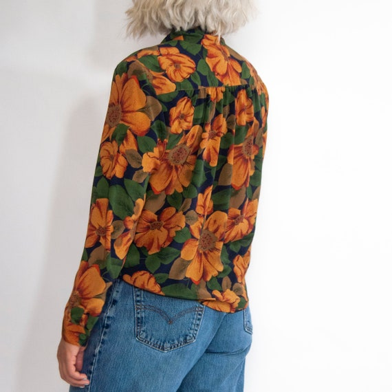 90s Floral Pussy-Bow Blouse 14 / L / Large Floral… - image 5