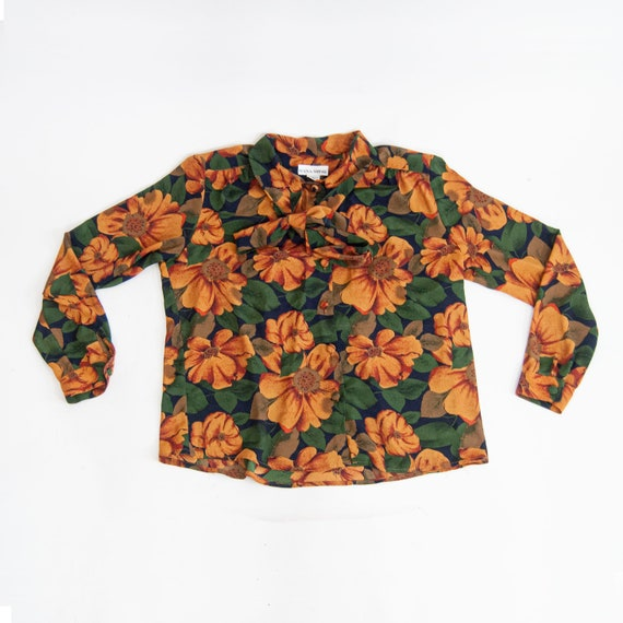 90s Floral Pussy-Bow Blouse 14 / L / Large Floral… - image 10