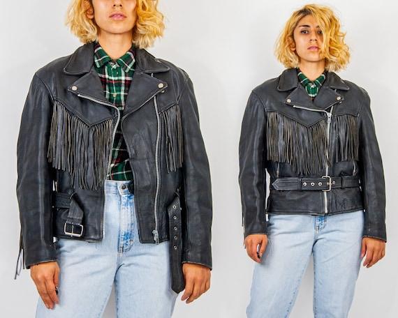 90s Fringed Leather Jacket L