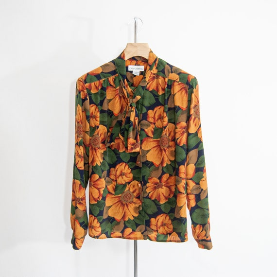 90s Floral Pussy-Bow Blouse 14 / L / Large Floral… - image 8