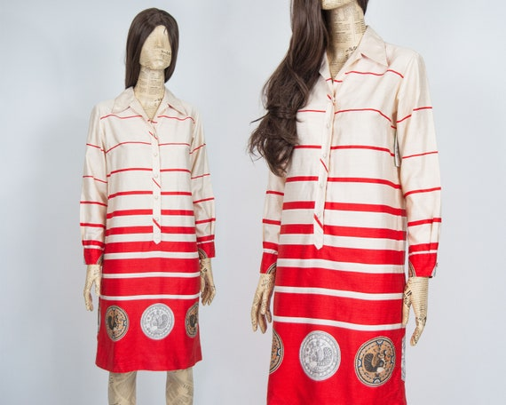 70s Mariner Shirt Dress S / M