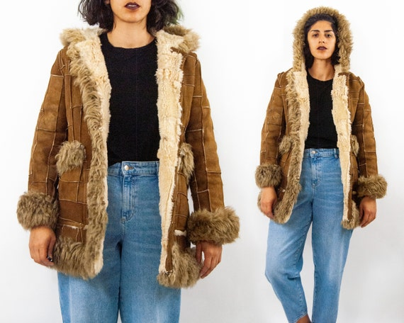70s Patchwork Leather Shearling Coat S / M