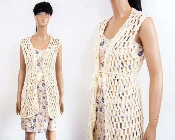70s Hand Knit Crochet Vest XS / S