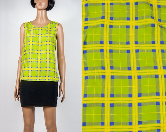 Y2K Neon Plaid Silk Blouse S
