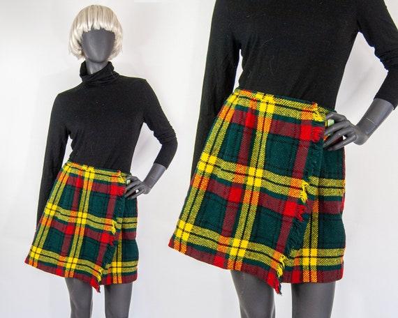 """60s Plaid Wrap Mini Skirt 25"""" / XS"""