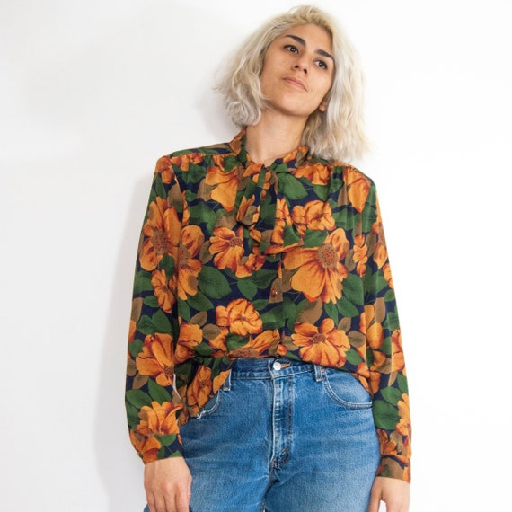 90s Floral Pussy-Bow Blouse 14 / L / Large Floral… - image 1