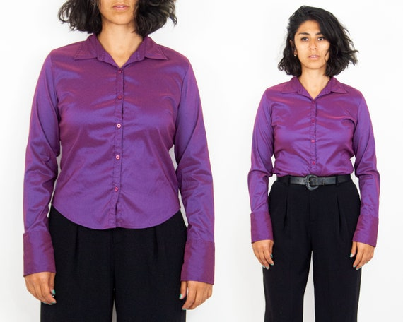 Y2K Purple Iridescent Blouse L
