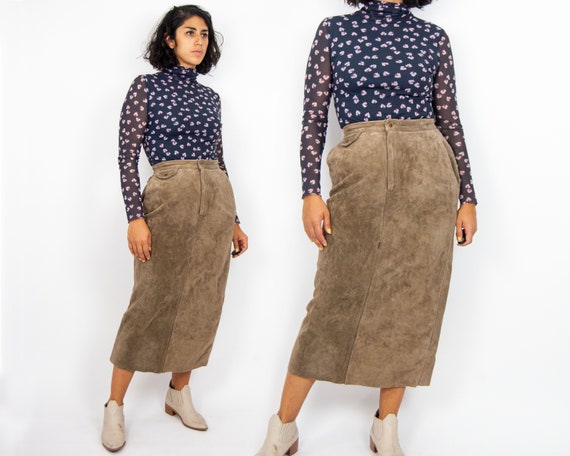 90s Ralph Lauren Country Leather Skirt M / L / 12