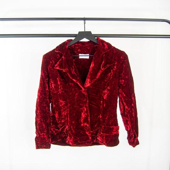 60s Red Velvet Dress and Blazer Set 11 / S small … - image 6