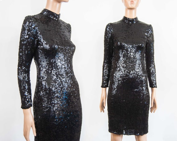 80s Sequin Bodycon Dress M