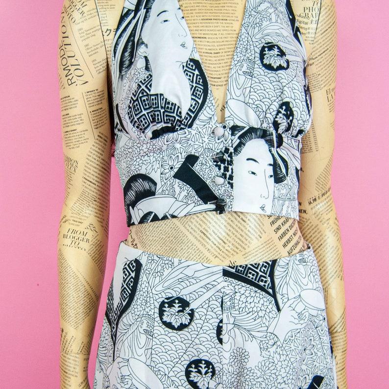 70s Fumi/'s Originals Geisha Print Pant Set 9  S  M