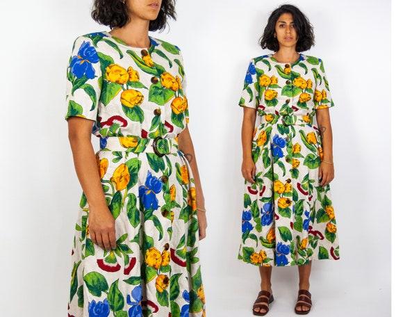 80s Floral Pop Midi Dress 12 / L