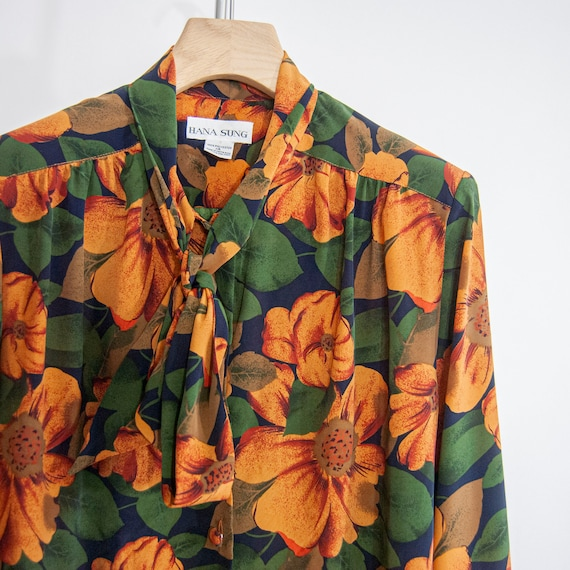 90s Floral Pussy-Bow Blouse 14 / L / Large Floral… - image 9
