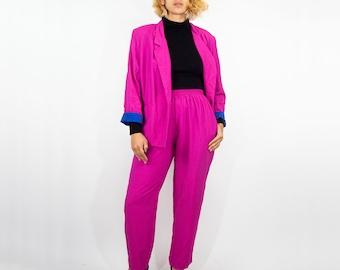 80s Hot Pink Pant Suit 16 / L Large / lightweight suit / hot pink suit / breezy pink suit / vintage pink business suit / casual buisnesswear