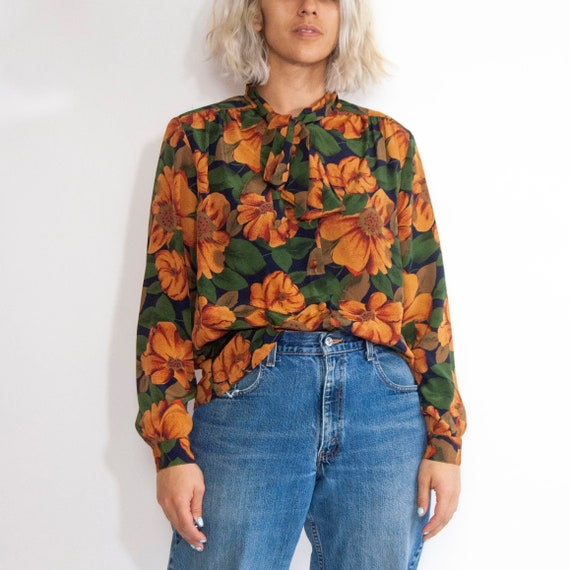 90s Floral Pussy-Bow Blouse 14 / L / Large Floral… - image 7