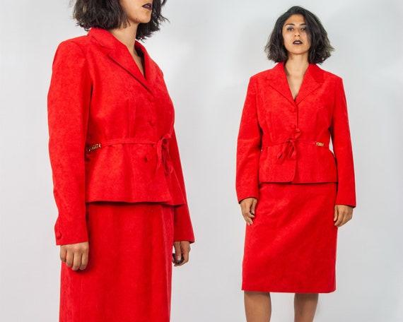 80s Lilli Ann Ultrasuede Red Suit L / XL