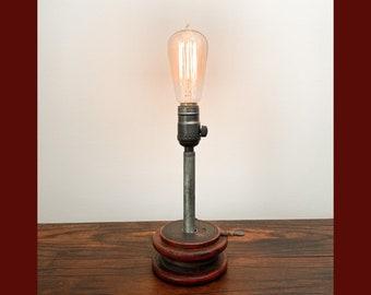 Red Wood Bobbin Lamp
