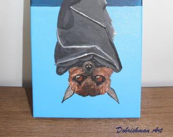 Black Bat, Moonlit Bat Painting, Fruit Bat Painting, Vampire Bat Artwork, Giclee Art Print, Whimsical Art, Woodland Art, Blue